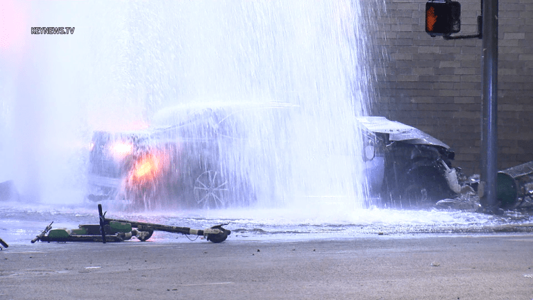 Driver Dies After Crashing into Police Station, Hitting Pedestrian and Hydrant