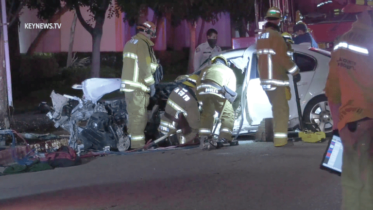 Man Trapped After Solo Vehicle Traffic Collision in El Monte