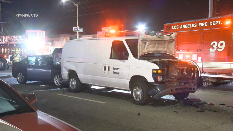 Hit-and-Run Driver Flees on Foot After Crashing into Mortuary Transport Van