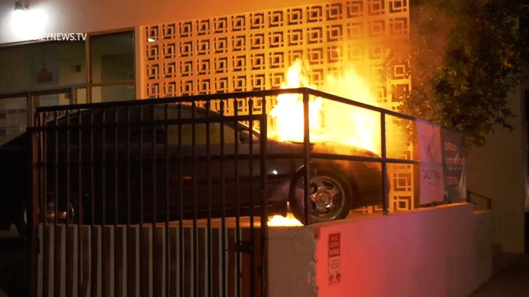 Westlake Vehicle Fire Burns Near Building