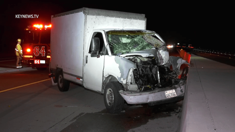 1 Trapped in Box Truck in 3-Vehicle Freeway Collision