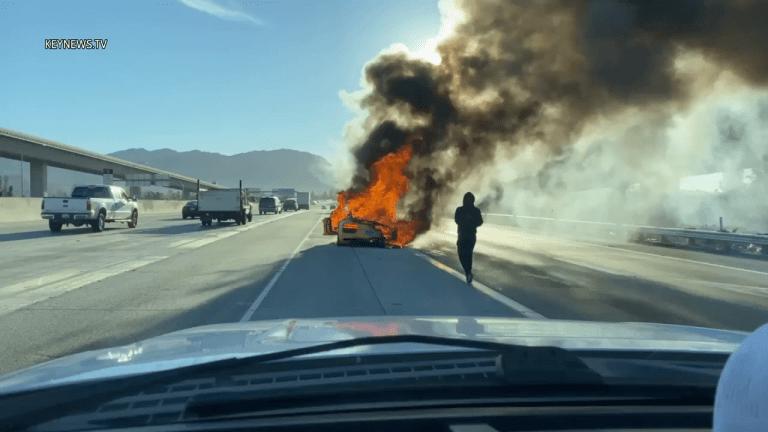 Audi R8 Burns in Riverside on 60 Freeway