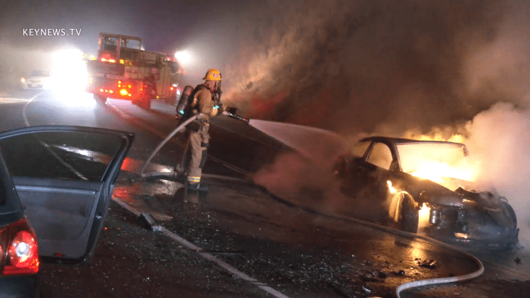 2 Vehicle Traffic Collision, 1 Engulfed in Flames on Santa Susana Pass