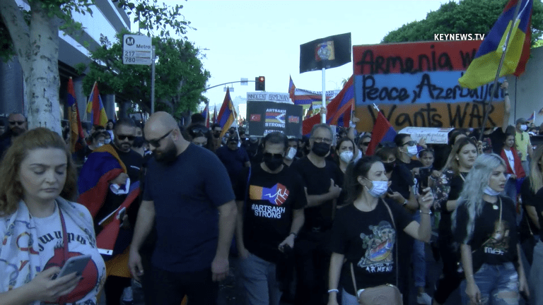 Thousands March in Beverly Hills in Support of Armenia Conflict