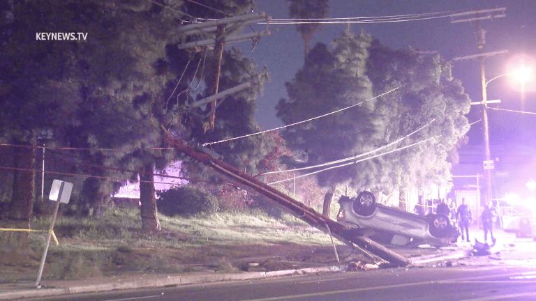 Glassell Park Vehicle Rollover Collision Shears Power Pole in Two