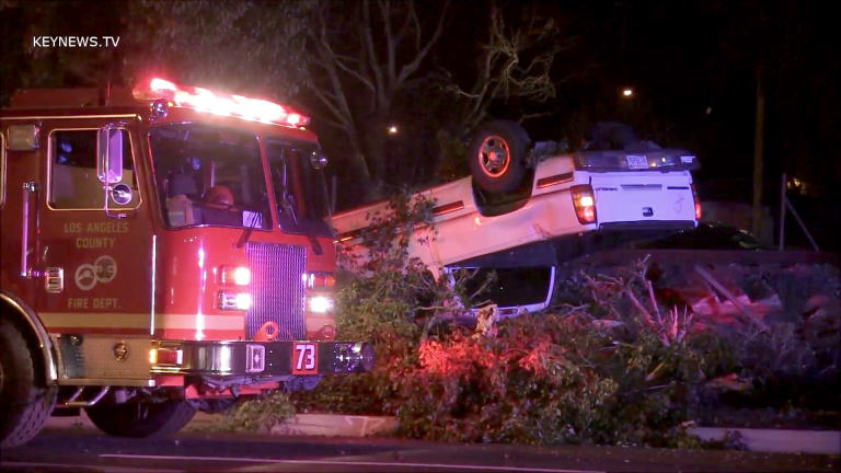 Newhall Pursuit Ends in Overturned Vehicle