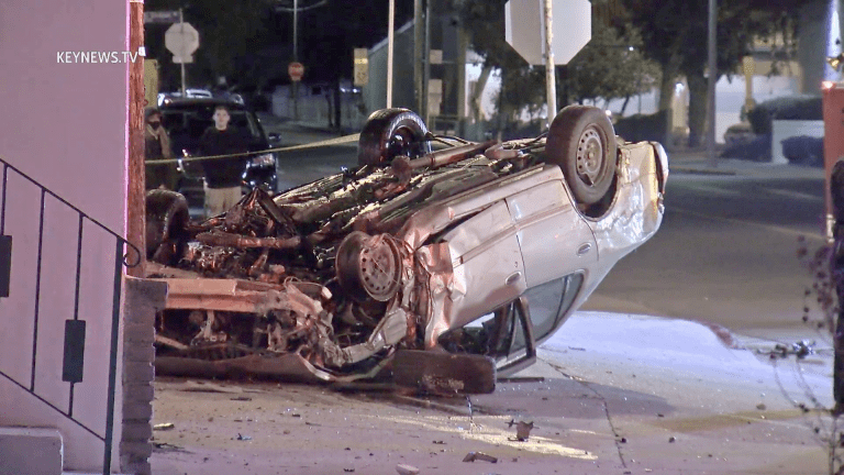 Pursuit Suspect Physically Rescued from Rollover Collision in Sunland