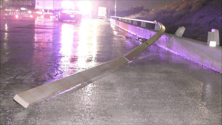 Big Rig Jackknifed Southbound I-5 Under 210 Freeway