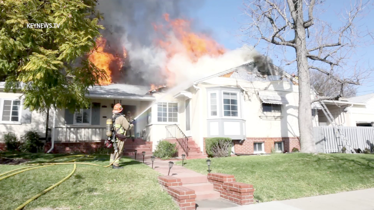 Burbank FD Battled Structure Fire with Intense Roof Flames