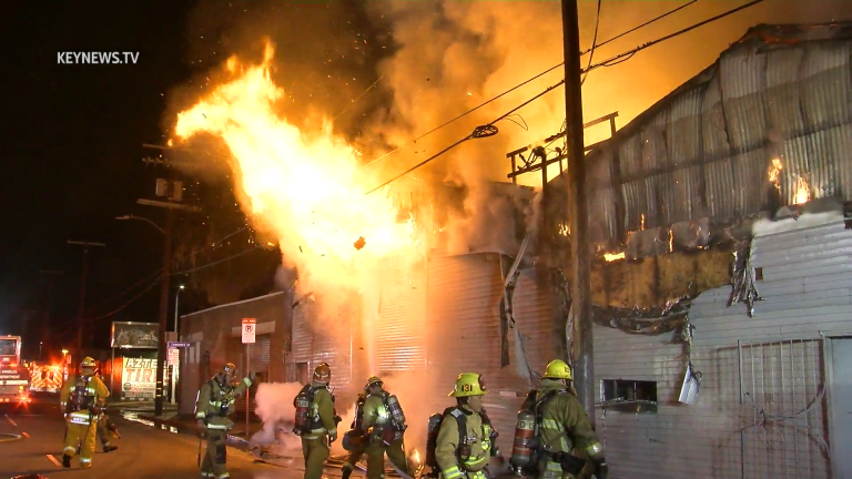 LAFD Battled Massive Blaze at Commercial Structure in Cypress Park