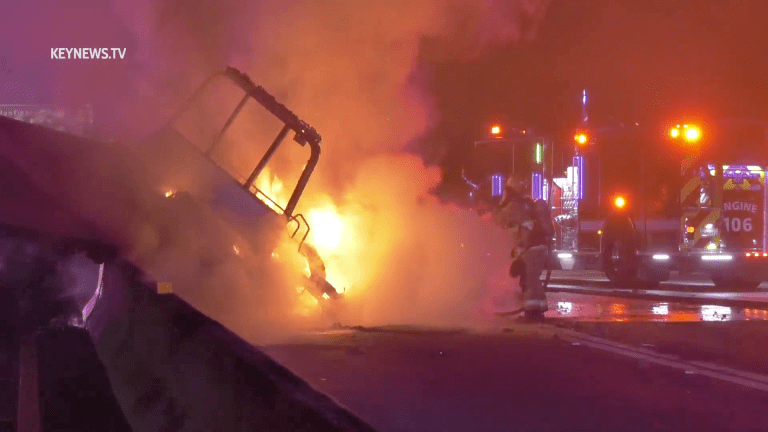 Fiery Tow Truck Center Divider Collision on 210 Freeway