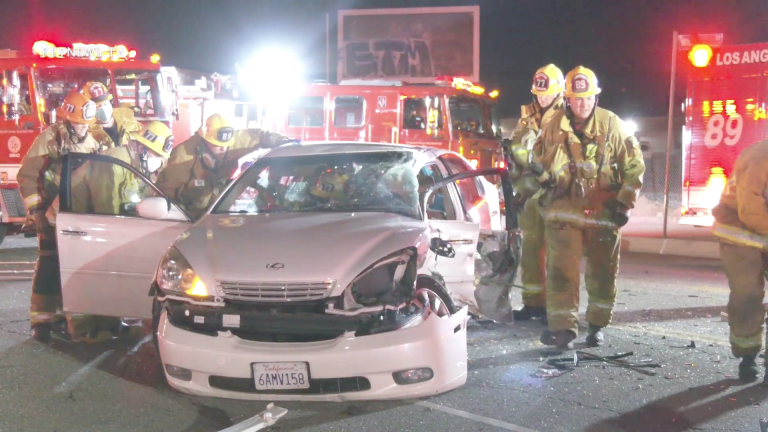 LAFD Extricated Trapped Female Victim in Sun Valley 2-Vehicle Collision