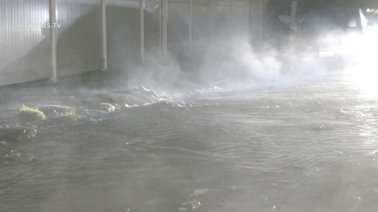 Woodland Hills Water Main Break Floods Street