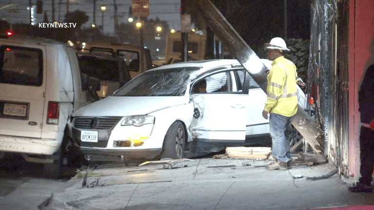 Vehicle Crashes into Pole and Structure in Florence-Firestone