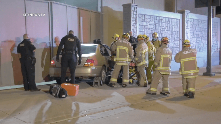 Vehicle Crashes into Pasadena Glenarm Power Plant Entrance