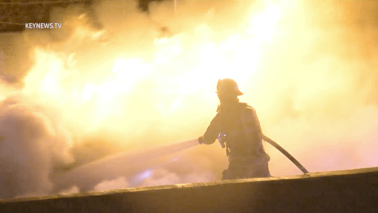 Early Morning Fiery Rollover on NB 101 Freeway in Downtown L.A.