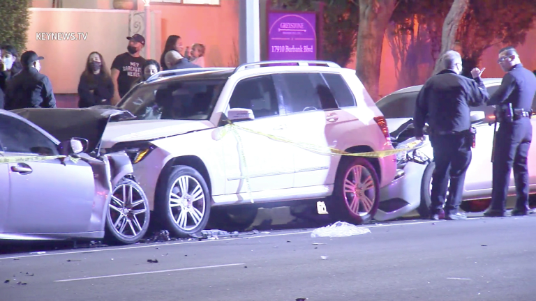 Parked Cars Impacted by 2-Vehicle High-Speed Collision, 2 Injured