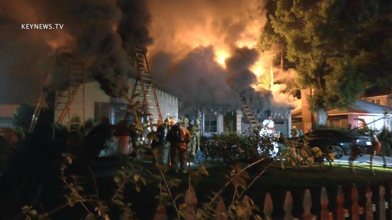 LAFD Battled Blaze at Sherman Oaks Home