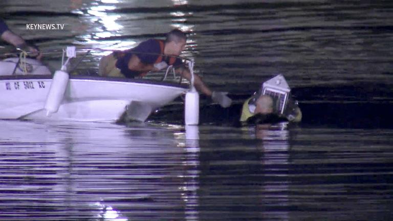 MacArthur Park Lake Swimmer Stranded on Buoy