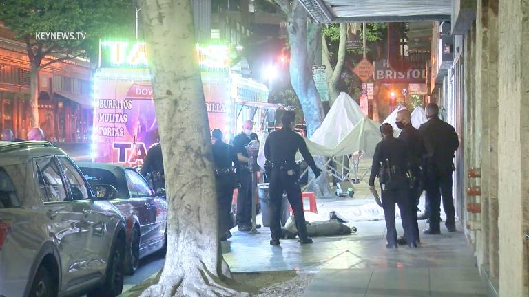 Male Shot Dead on Sidewalk Near Downtown LA Taco Stand