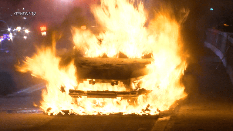 Vehicle Bursts into Flames on 101 Freeway in Cahuenga Pass