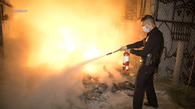 LAPD Attempts to Extinguish Rubbish Fire