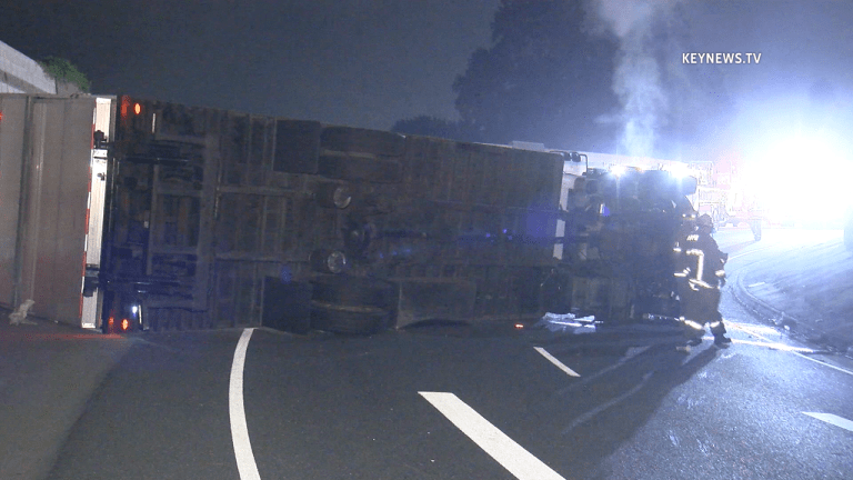 Box Truck Overturns on 405 Off-Ramp in Granada Hills