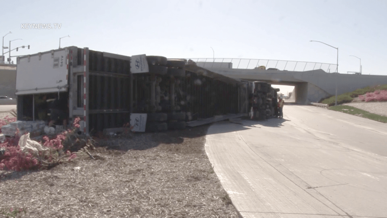 Overturned Big Rig on Westbound I-10 Freeway at West Cherry On-Ramp