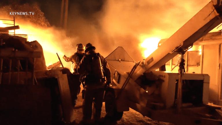 Firefighters Contain Flames Battling Blaze in Windy Sylmar