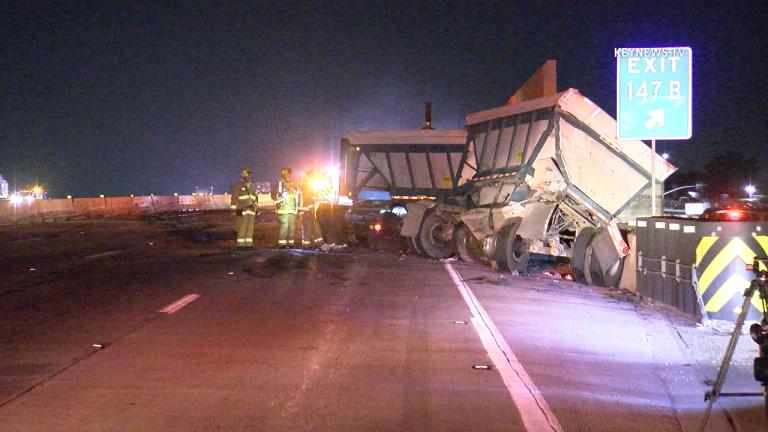 Big Rig Fiery Crash Shuts Down I-5 in Burbank