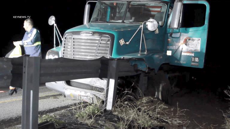 Semi-Truck Struck Guardrail Southbound I-5 at Parker Road