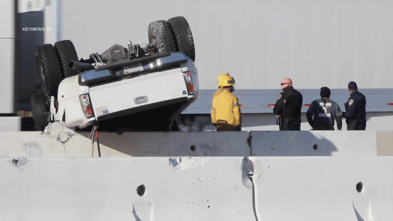 Overturned Truck Impacts Rush Hour Traffic on Westbound 210 Freeway