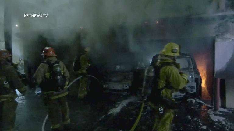 Baldwin Hills Carport Fire Damages Vehicles