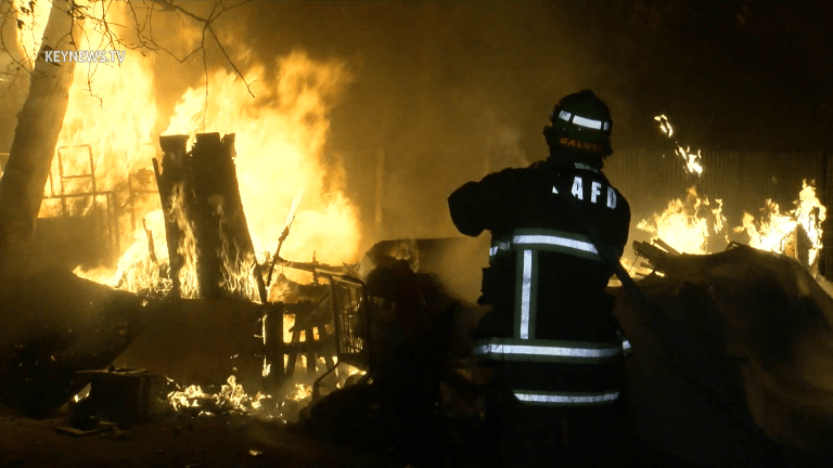 North Hollywood Homeless Encampment Fire Threatens Library