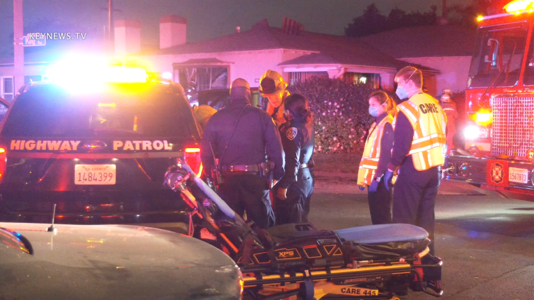 Vehicle Crashes into Home After CHP Pursuit in Bell