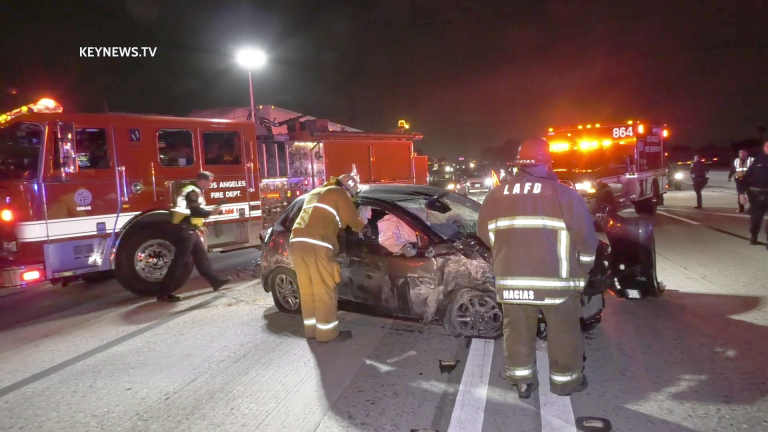 Suspected DUI Driver Crashes into CHP on 110 North at Manchester