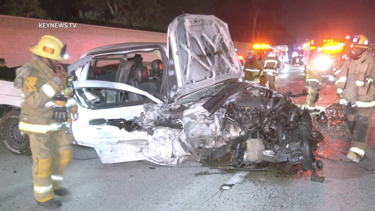 Firefighters Extricate Trapped Man in 5-Vehicle Traffic Collision on 170 Freeway