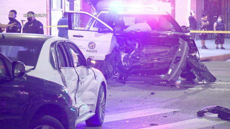 3-Vehicle Traffic Collision Involves LAPD Unit Responding to a Call with Lights and Sirens