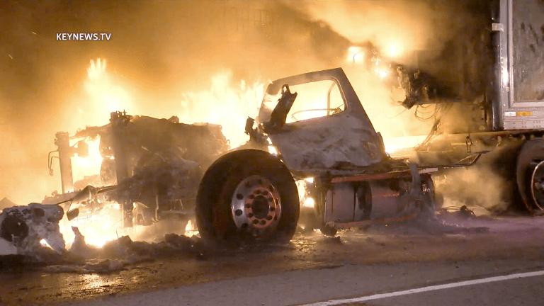 San Dimas Big Rig Fire on Eastbound I-10