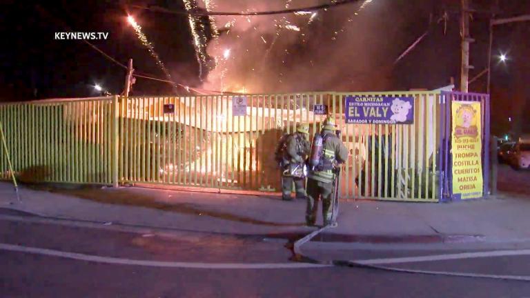 Vermont-Slauson Fire Triggers Fireworks Display