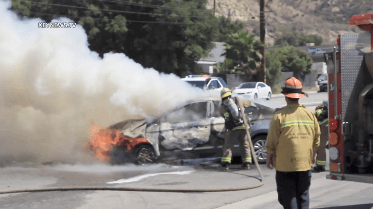 Vehicle Catches Fire After Collision in Newhall