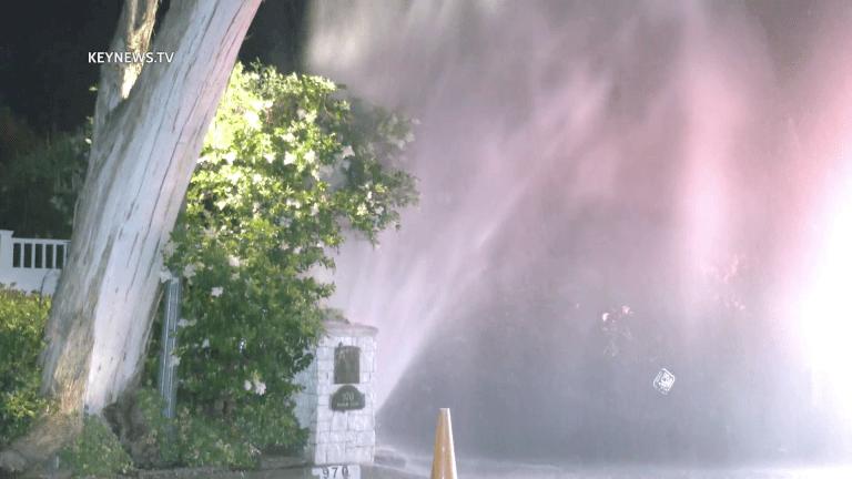 Broken Pipe Gushes Water onto Residential Bel Air Street