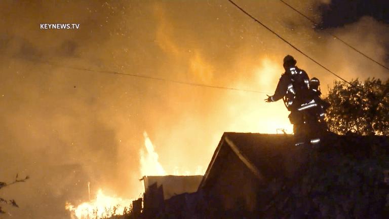 Garage Burns in South Los Angeles