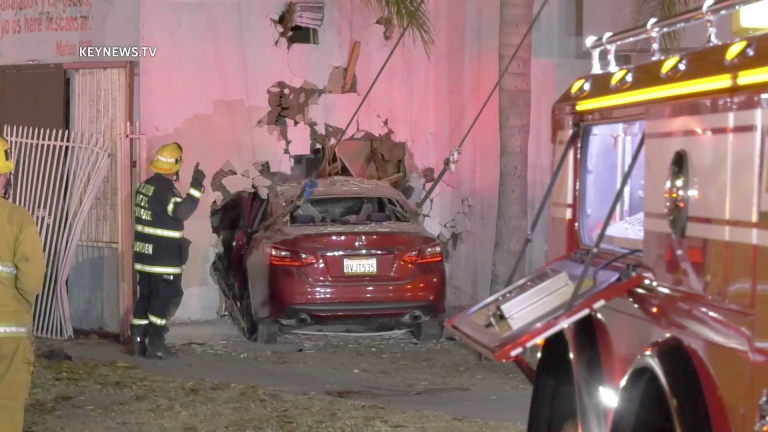 Mother and 2 Daughters Uninjured After Single Vehicle High-Speed Crash into Building