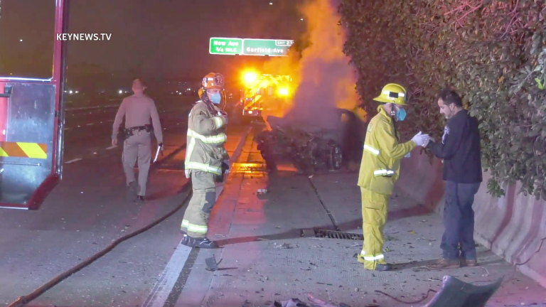 Multi-Vehicle Freeway Collision with Vehicle on Fire
