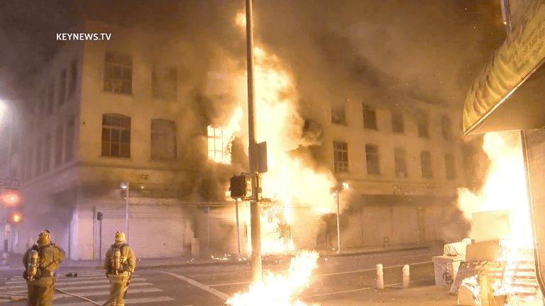 Firefighters Battle Major Emergency Structure Fire in Downtown Los Angeles
