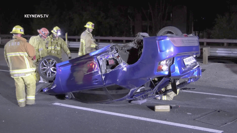North 101 Freeway Solo Vehicle Rollover, Driver Safe