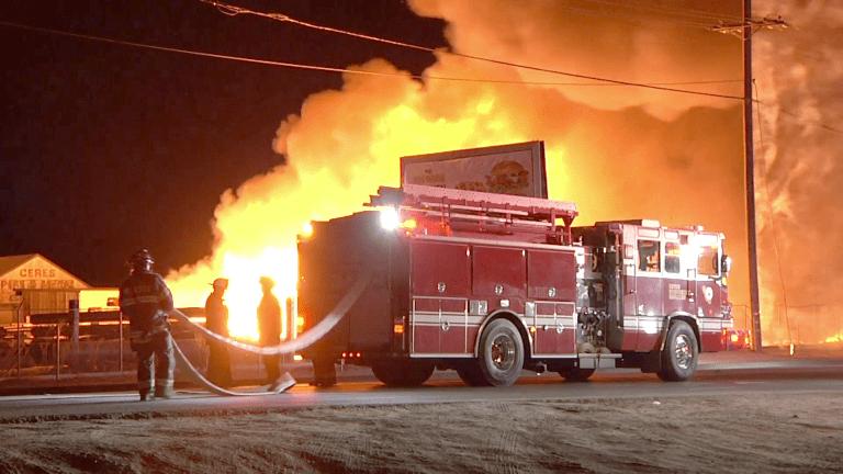 Fire Erupts at a Modesto Pallet Yard