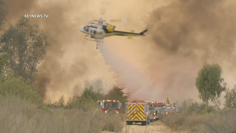 Santa Fe Dam Brush Fire Threatens Large Homeless Encampments