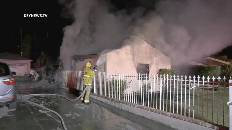 Attached Garage Burns in Woodland Hills